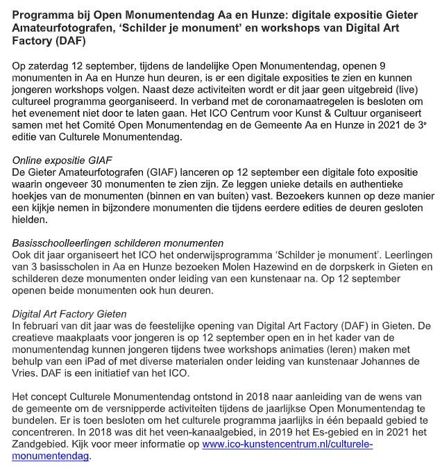 persbericht open monumentendag